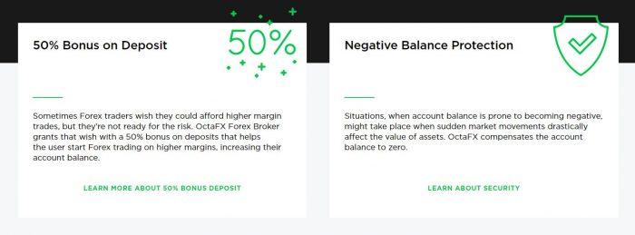 Каждый новичок имеет возможность получить бездепозитный бонус от OctaFx в размере 50%.
