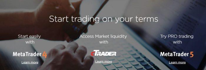 На официальном сайте OctaFx клиентам доступны такие торговые платформы как cAlgo, MT4 Mobile, cTrader WEB, cTrader и Metatrader 4.